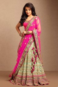 nine colours lehenga pink green
