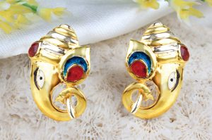 rudra centre gold plated earrings