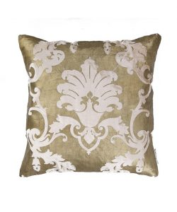 Dull Gold Velvet Motif Cushion Cover