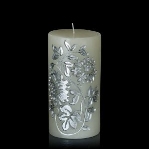Floraison White & Silver Embossed Candle