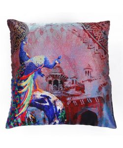 Multicolor Polyester Peacock Cushion Cover