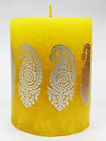 Yellow Paisley candle