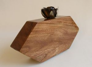 Edgy wooden clutch