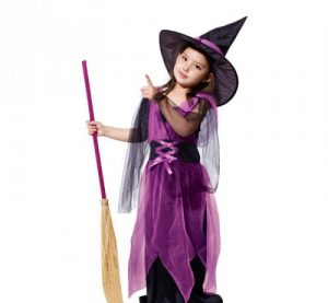 Purple Halloween Witch Fancy Dress Costume and Hats for Girls