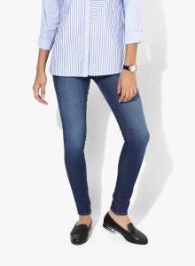 Wrangler Blue Washed Low Rise Skinny Fit Jeans - Women