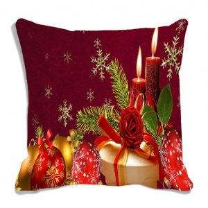 MeSleep Red Merry Christmas Digitally Printed Cushion Cover
