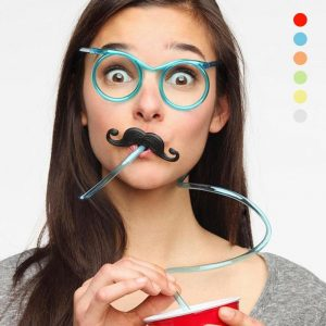Moustache Drinking Eyeglasses Straw