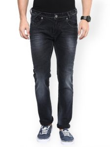 Mufti Black Narrow Fit Jeans with Wash Narrow Fashion - Men