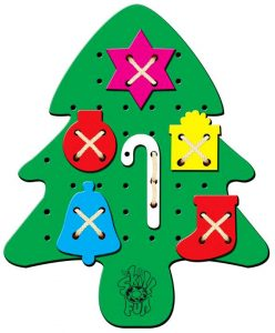 Wooden Christmas tree sewing toy