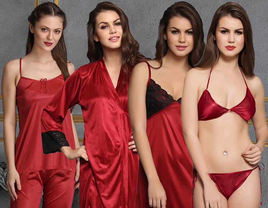 lingerie and night wear 8 pc set by Clovia
