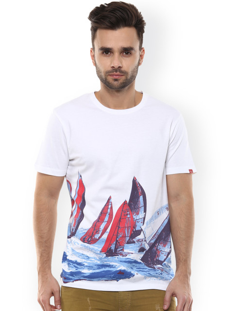 white printed t-shirt by spykar