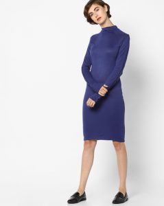 Ajio High Neck Bodycon Dress