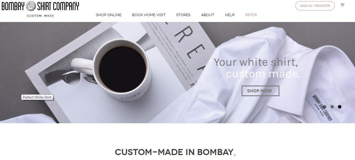 Bombay Shirt Company Website online menswear