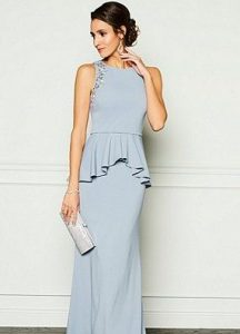 Camen Marc Valvo Infusion Beaded Peplum Gown