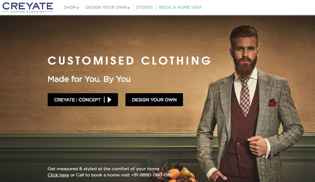 Creyate Website for men's wear from formal corporate wear