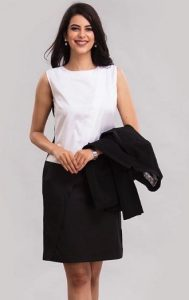 Diagonal Placket dress black