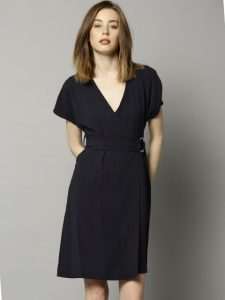 Spencer Women Navy Solid Wrap Dress