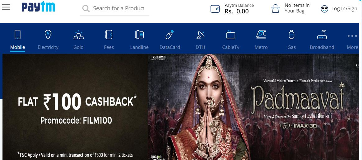 Paytm.com - online booking for movie tickets