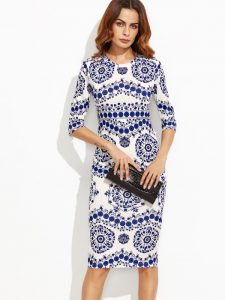 SHEIN Porcelain Print Pencil Dress