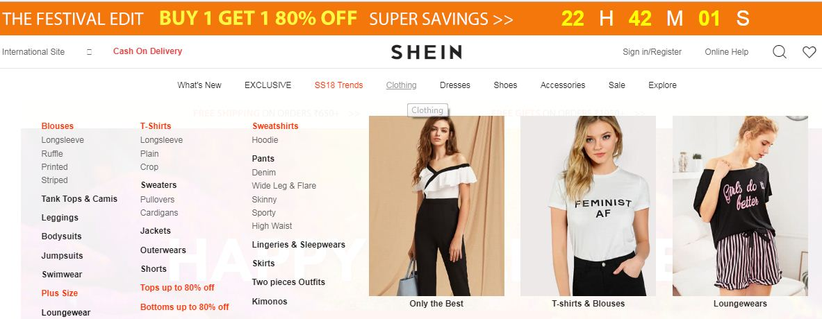 Shein online shopping Website