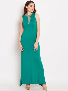 Wills Lifestyle Women Green Solid Maxi Dress