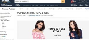 Amazon Website for online clothing