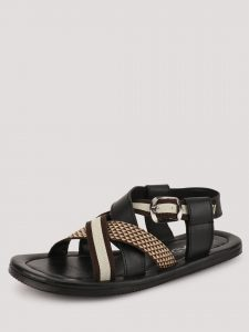 Black cross Over Sandals -Koovs