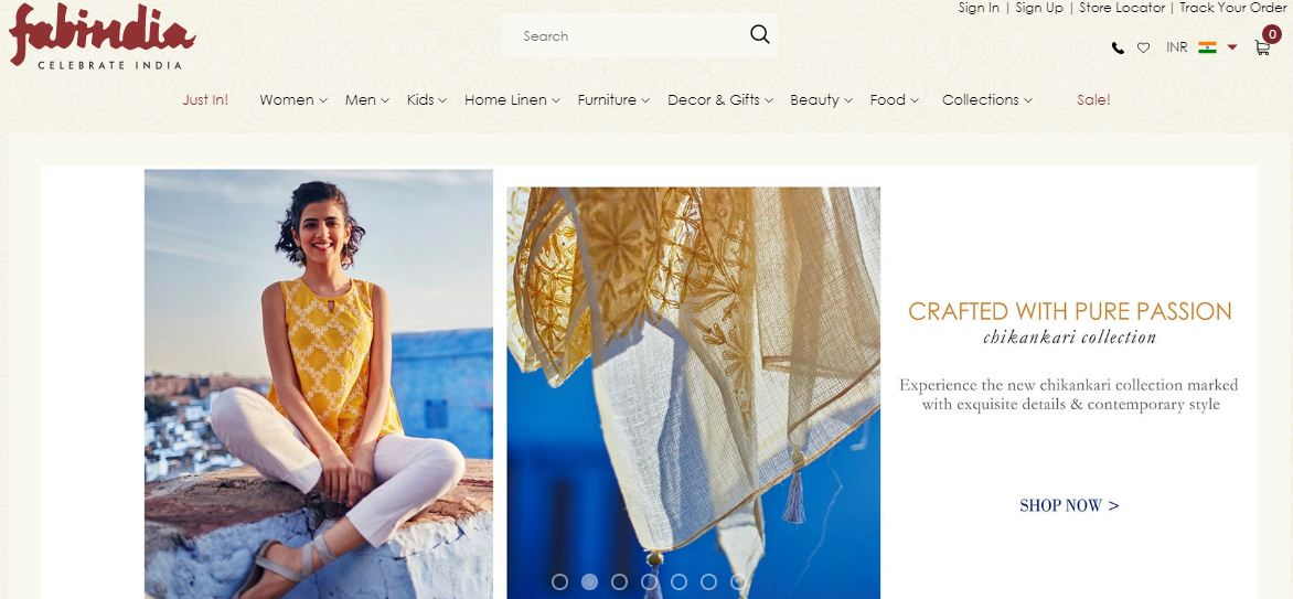 Fabindia Website for Indian and Indo-Western outfits
