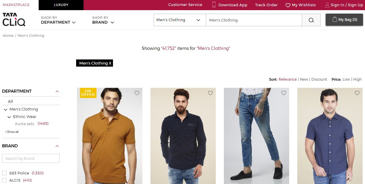 Tata Cliq Website online shopping destination for men