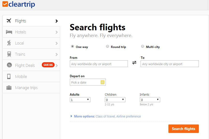 Cleartrip website for booking flights
