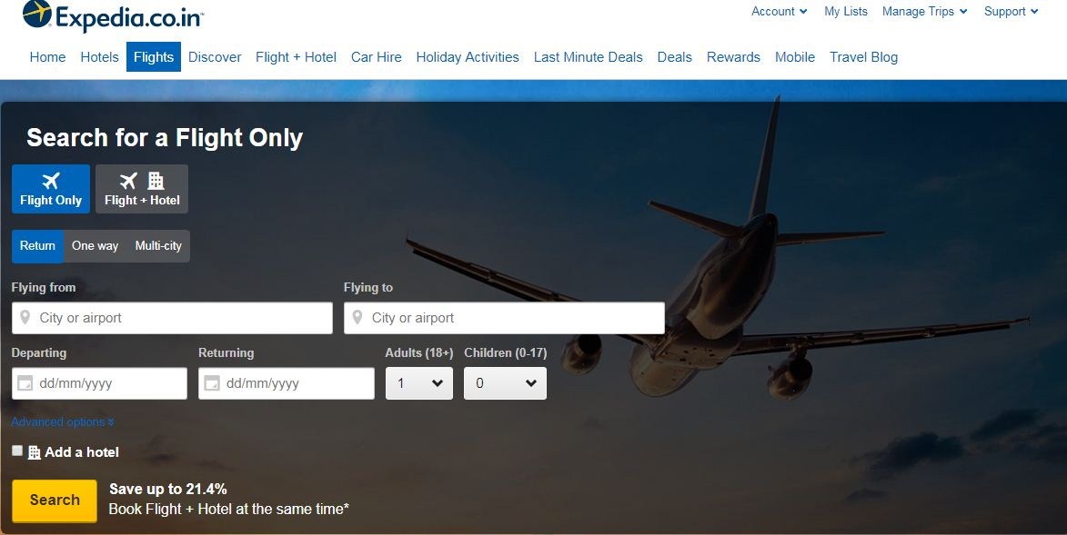 Expedia international global online travel booking website