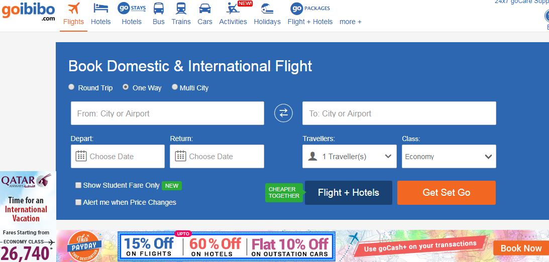Goibibo website for booking air tickets