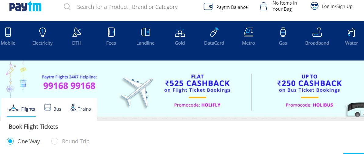 Paytm - flight bookings