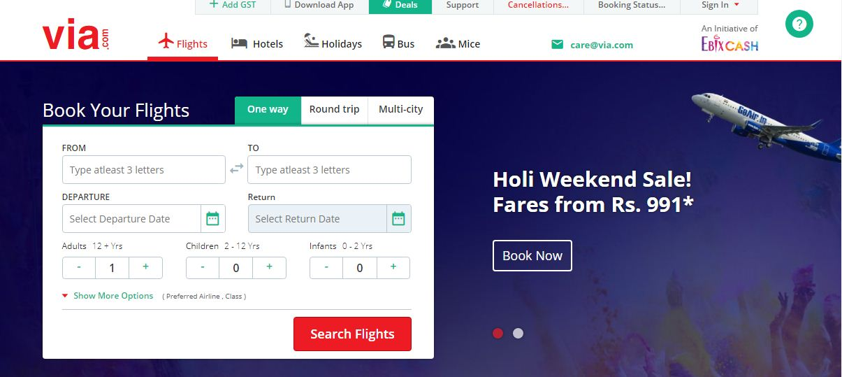 Via flight bookings website