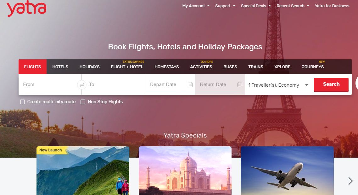 Yatra Website for domestic and international
