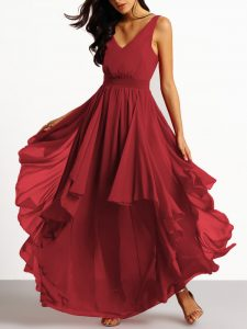 Plunging V-Neckline Long party gown