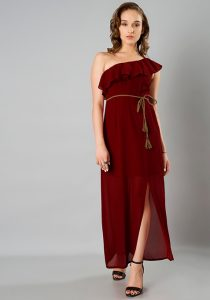 Fab Alley - Ruffled One Shoulder long dress gown
