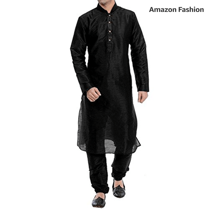 Amazon - Black silk kurta pyjama
