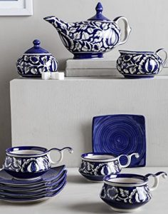 Ceramic hand-painted blue tea set