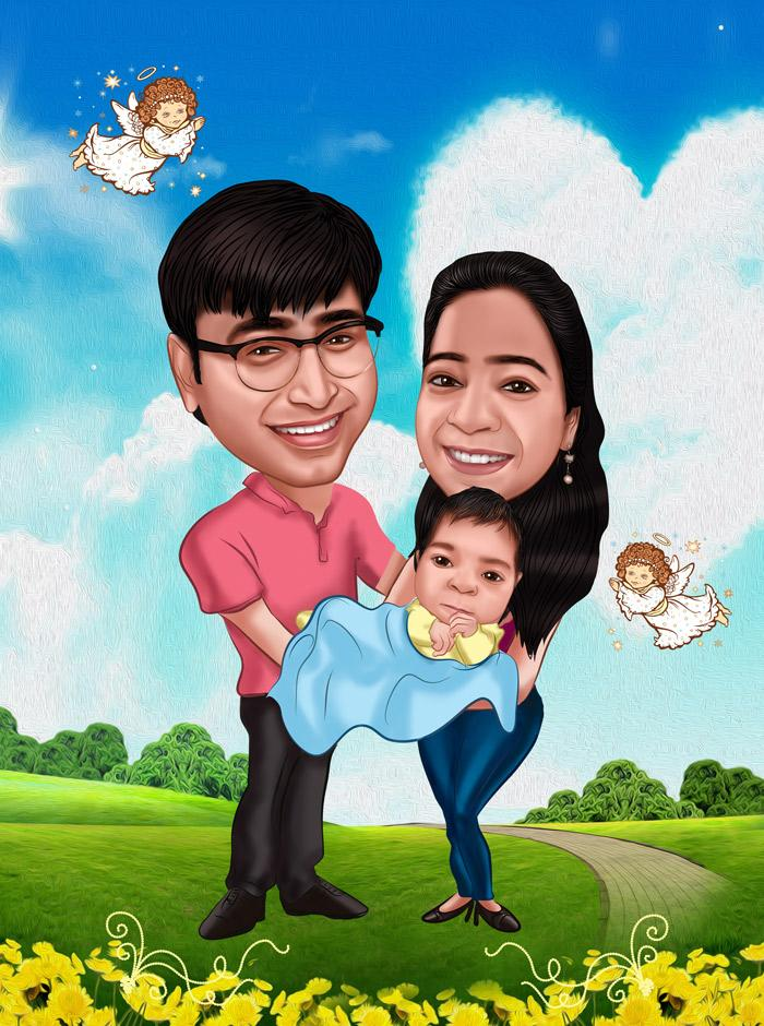 caricature family portraits