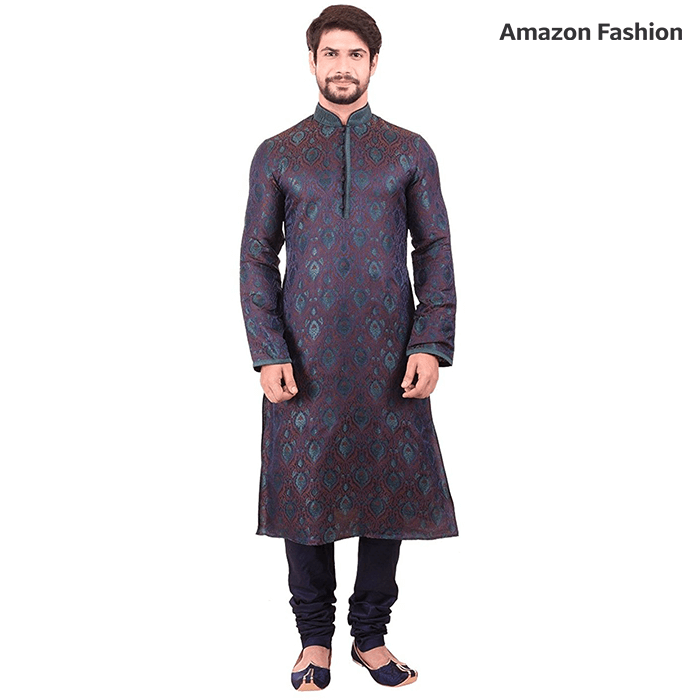 Amazon - Manyavar Blue embroidered kurta pyjama