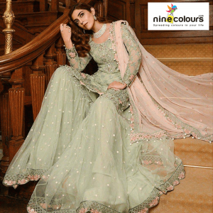 Pastel Green Sharara suit nineclours