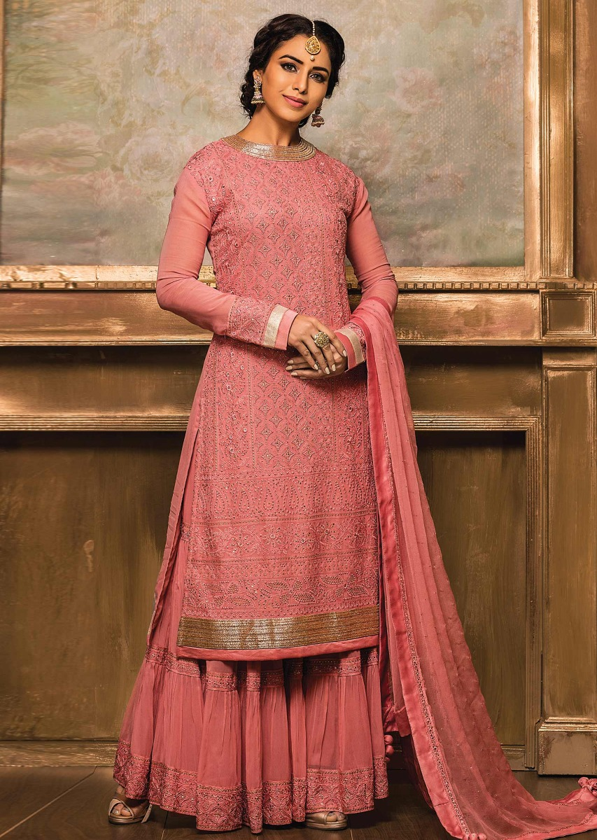 Candy pink straight sharara suit from Kalki