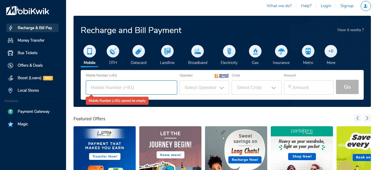 Mobikwik Recharge and Bill Payment Website