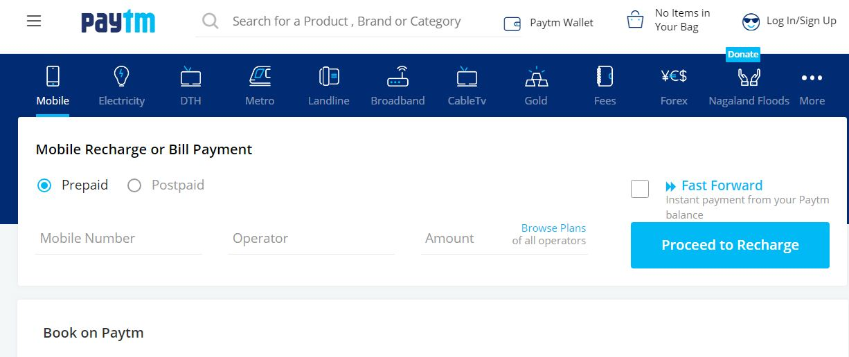 Mobile Recharge on Paytm Website