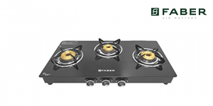 Faber Cooktop Glass 3 Burner Gas Stove, Auto Ignition, Black