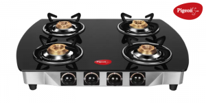 Pigeon Blackline Oval ZZ Glass 4 Burner Gas Stove, Black
