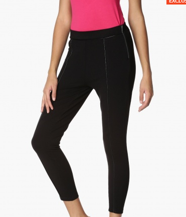Lifestyle - Ginger Solid Piping Detailed Knitted Leggings