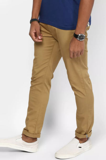 Khaki Solid Straight Chinos