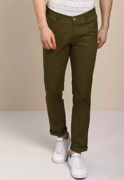 John Players Green Solid Regular Fit Chinos